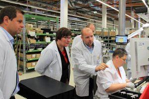 Iris Gleicke, Ostbeauftragte der Bundesregierung, zu Besuch bei Qundis in Erfurt